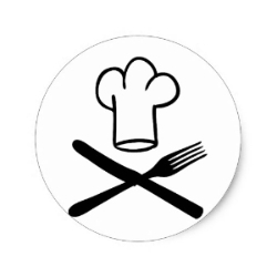 chef hat with knife and fork icon classic round sticker-r36f85df92db8497aad78a9f2344c38cd v9waf 8byvr 512-858-632